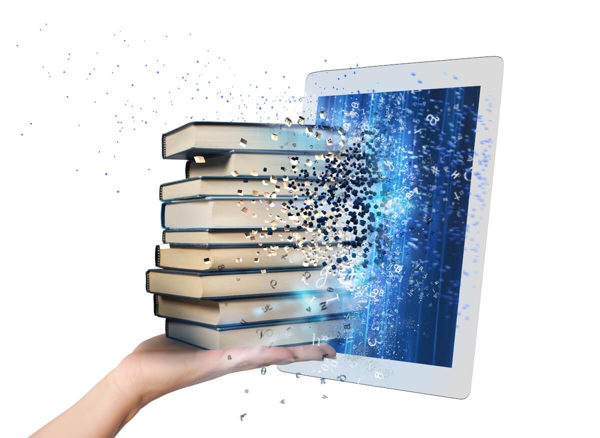 Bücher fliegen digitalisiert in Bildschirm
